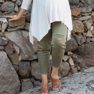 Olive Distressed Cropped Boyfriend Jeans